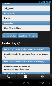 PagerDuty Android App Incident Log Screenshot
